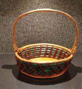 Cane Basket Green & Red