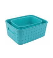 BONIRY New Multipurpose smart Basket set of 3 Blue Plastic Fruit & Vegetable Basket  (Blue)